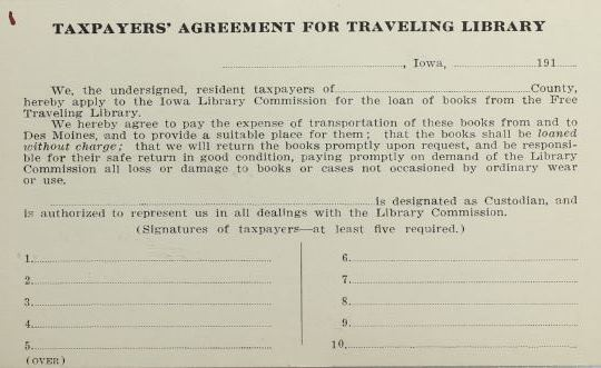 Taxpayers' Agreement for the Traveling Library