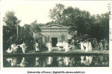 Women in Greek costume dancing in front of mock Greek temple at City Park, The University of Iowa, 1915