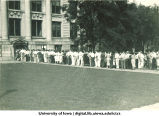 Students lined up at Schaeffer Hall for registration, The University of Iowa, 1940s