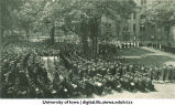 Commencement on the Pentacrest with Schaeffer Hall in background, The University of Iowa, June 1926