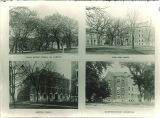 Dental Hall, trees on campus and a hospital, The University of Iowa, 1900s