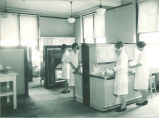 Students cooking in a home economics laboratory and classroom, The University of Iowa, 1920s