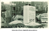 Tombstone on float in Mecca Day parade, The University of Iowa, 1923