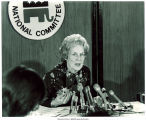 RNC chairwoman Mary Louise Smith speaking to press, 1975