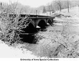 Iowa Avenue Bridge in winter, Iowa City, Iowa, 1930s