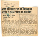 WAC recruiters to conduct week's campaign in county