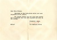 M.L. Wood letter to Helen Patricia (Patsy) Wilson exchanging bookplates.