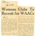 Womans Clubs to recruit for WAACs