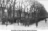 Cadets marching south on Clinton Street, The University of Iowa, 1918