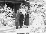 Swisher house, three people, Iowa City, Iowa, November 7, 1938
