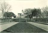 View looking east from Iowa Avenue toward Pentacrest, the University of Iowa, 1920s