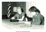 Mary Louise Smith giving interview at G.O.P. Women's Political Day, 1976