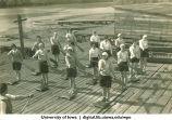 Land drill demonstrating diagonal strokes, The University of Iowa, 1930