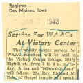 Service for WAACs at victory center