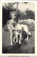 Vidie Burden with Dan, the dog in Rock garden