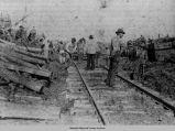 Scene from the Tioga Train wreck, White Oak Township, September 16, 1899; Mahaska County