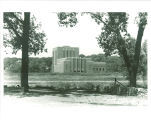 Theatre Building seen from east side of Iowa River, The University of Iowa, June 1, 1962