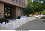 Sandbags outside of the Communications Center, The University of Iowa, June 14, 2008