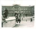 Scottish Highlanders members Joyce Palmer (left) and Kay McNamara in front of Buckingham Palace, London, England, August 3, 1957