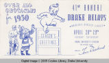 Drake Relays Promotional Post Card, 1950