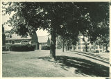 East wings of Children's Hospital with West Lawn Nurses' Home in background, The University of Iowa, 1940s?