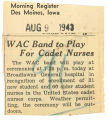 WAC band to play for cadet nurses