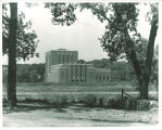 Theatre Building viewed from east side of Iowa River, The University of Iowa, 1936