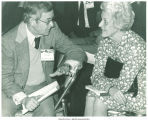 Mary Louise Smith speaking with colleague, Detroit, Mich., between 1980 and 1984