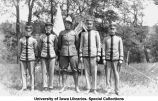 Army officer with four cadet officers, Camp Macbride, The University of Iowa, 1914