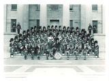 Scottish Highlanders on steps of Old Capitol, The University of Iowa, October 24, 1943?