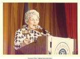 Mary Louise Smith speaking with gavel at national convention, Kansas City, Mo., August 1976