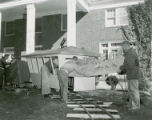 "Tau Kappa Epsilon lawn display, """"Getting on the Victory Train"""", Homecoming 1954"