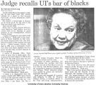 """Judge recalls UI's bar of blacks,"" November 7, 1990"