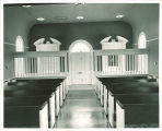 Danforth Chapel interior from the pulpit, The University of Iowa, January 1953