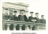 University of Iowa President Walter Jessup, left, and other commencement officials on west terrace of Old Capitol, The University of Iowa, 1930s