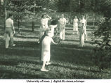 Volleyball at a picnic, The University of Iowa, 1930s