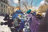 News crews gathered to watch replacement of Old Capitol dome, The University of Iowa, February 24, 2003