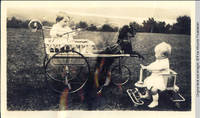 Baby Frindy Burden in small scooter with friend in toy carriage with horse in front