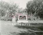 "Alumni Hall's """"Let's Bury the Buffs"""" lawn display, Homecoming, 1954"