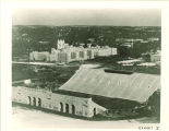 Aerial view of Kinnick Stadium and University of Iowa Hospitals and Clinics, the University of Iowa, 1943