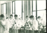 Dental students working in lab, The University of Iowa, 1940s