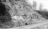 Quarry in Devonian limestone, Cedar Valley Stage, showing two parallel joints, Iowa City, Iowa, late 1890s or early 1900s