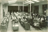 Students in large study hall in Old Dental Building, The University of Iowa, 1919