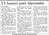 """""""UI honors poet Alexander,"""" May 6, 1988"""