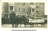 U.S. Army float in parade, with Burkley Hotel in background, The University of Iowa, 1917