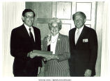 Pres. James Freedman, Distinguished Alumni awardee Mary Louise Smith, and Tom Brown, University of Iowa, Iowa City, Iowa, June 2, 1984