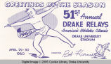 Drake Relays Promotional Post Card, 1960