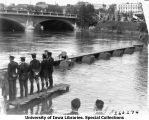 Cadets building a bridge across Iowa River, The University of Iowa, 1929