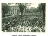 Commencement on Pentacrest with Macbride Hall in background, The University of Iowa, June 1931