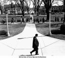 Pentacrest central walk, The University of Iowa, between 1960 and 1965